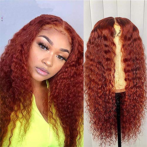 13x1 Curly Human Hair Lace Front Wigs Orange Ginger Ombre Color Red Brown Wigs Pre Plucked Glueless Bleached Knots 100% Real Brazilian Hair Wig with Baby Hair 150% Density 22 Inch by Brennas Hair