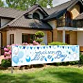 Baby Shower Decoration for Boy, Baby Shower Banner, Horizontal Large Blue Fabric It is A Boy Sign Banner Backdrop Background Baby Shower Yard Sign Party Decoration Photo Booth for Boy, 71 x 15.7 Inch