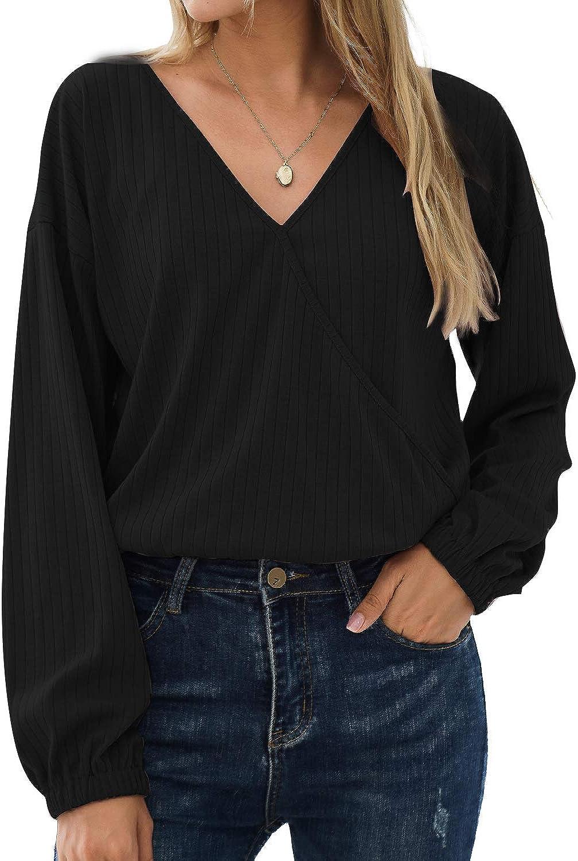 BMJL Women's Long Sleeve Crop Top Wrap Elastic Hem Pullovers V Neck Sweater Elegant Blouses