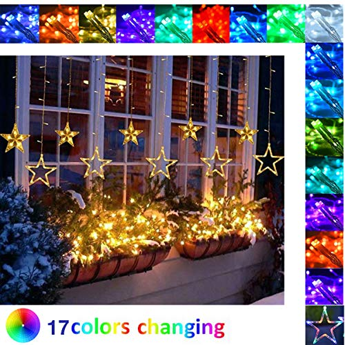 Gordijnlampen Kleur Veranderende Fairy Lights Led Up Star Light Indoor Outdoor RGB 16 Kleuren voor Slaapkamer Raam Wandtapijt Bruiloft Tuin Gazebo Valentijnsfeest met USB en Afstandsbediening