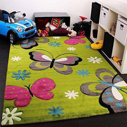 Paco Home Alfombra Infantil - Diseño De Mariposas - Verde Crema Rojo Rosa, tamaño:120x170 cm