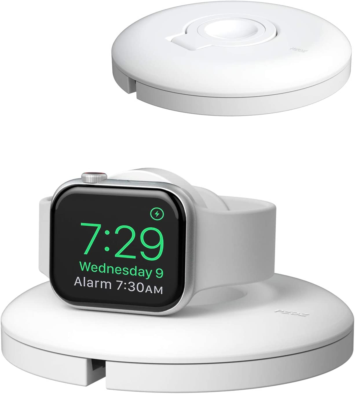 PZOZ Charger Stand Compatible for Apple Watch, Portable Charging Station Cable Management Dock Holder Organizer for iWatch with Band Series 6 SE 5 4 3 2 1 44mm, 42mm, 40mm, 38mm Accessories (White)