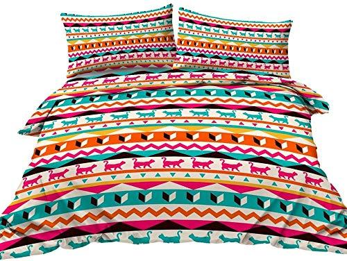dsgsd Bed Linen Copripiumino con Sacco e Federe, Motivo a strisce geometriche rosa gatto verde blu animali 200x200 cm Set copripiumino Twin Set completo di biancheria da letto matrimoniale King Size C