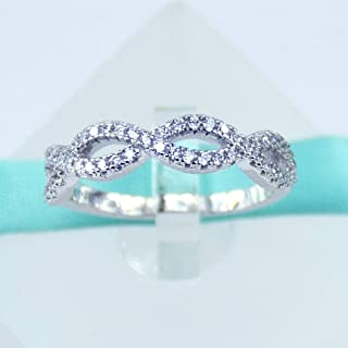 Infinity Crossover Swirl Wedding Band, 925 Sterling Silver Ring, Simulated Diamond Cubic Zirconia Stones, Round Cut, Women