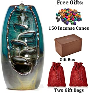 STRITE Waterfall Backflow Incense Burner, Includes 150 Incense Cones - Back Flow Mountain Incense Holder with Dragon Smoke Fountain Effect - Home Decor Aromatherapy Ornament