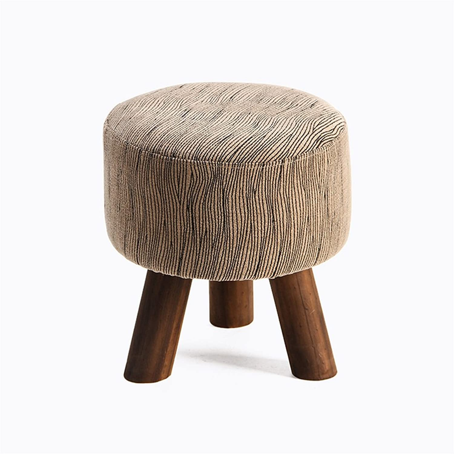 Multi-Purpose Small Stool for Living Room Linen Cloth Solid Wood Stool Leg Simple Fashion Style Diameter 30.5cm (12in), Height 33.5cm (13in) (Size   A)