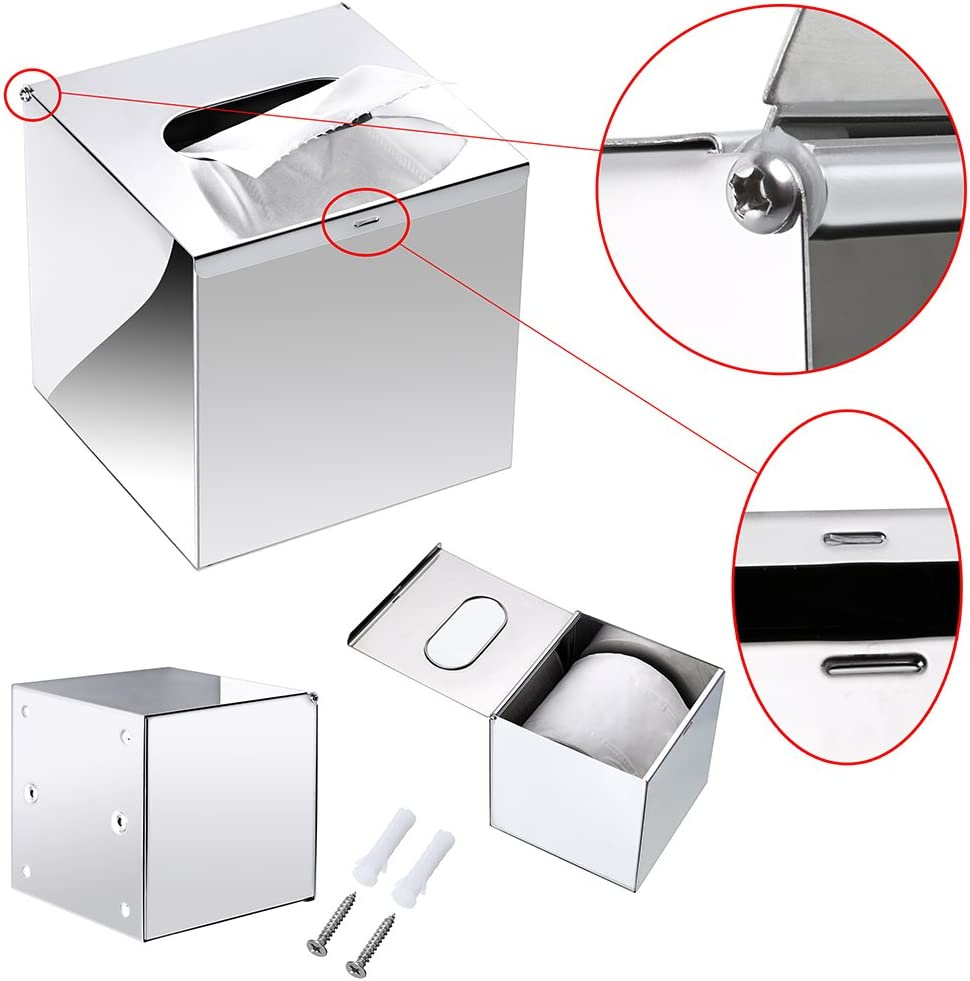 Vanity Metal Facial Tissue Box BTSKY Stainless Steel Square Tissue Box Cover Napkin Holder for Kitchen//Office//Car//Bedroom//Bathroom Living Room and Car