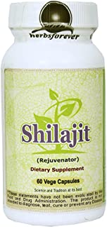 Shilajit (Mineral Pitch direct from Himalayas) (Ayurvedic Supplement), 60 Vege Capsules, 800 Mg Each, Extract Ratio (6:1) (Concentrated)