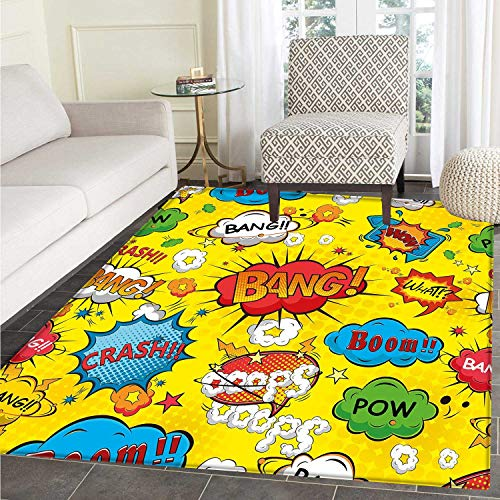 Superhero Customize Floor mats for Home Mat Humor Speech Bubbles Funky Vivid Bang Boom Bam Pow Fiction Symbols Artful Design Oriental Floor and Carpets 3'x5' Multicolor