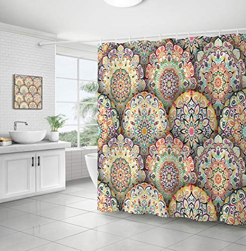 Curtainking Bohemian Decorative Shower Curtain Flower Pattern Intricate Floral Round Decorative element in Square Shape Different Coloring Mandala Polyester Fabric Bath Curtain (Multicolor, 71x71)