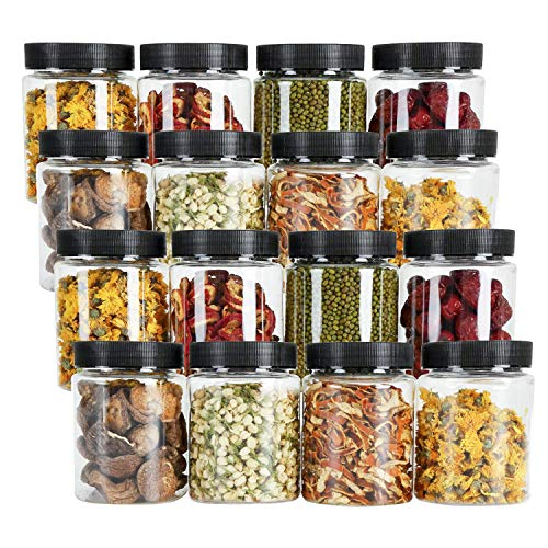 Tebery 16 Pack 16oz Clear Plastic Jars Bottles Canisters with Black Ribbed Lids Airtight Food Containers for Kitchen & Household Storage