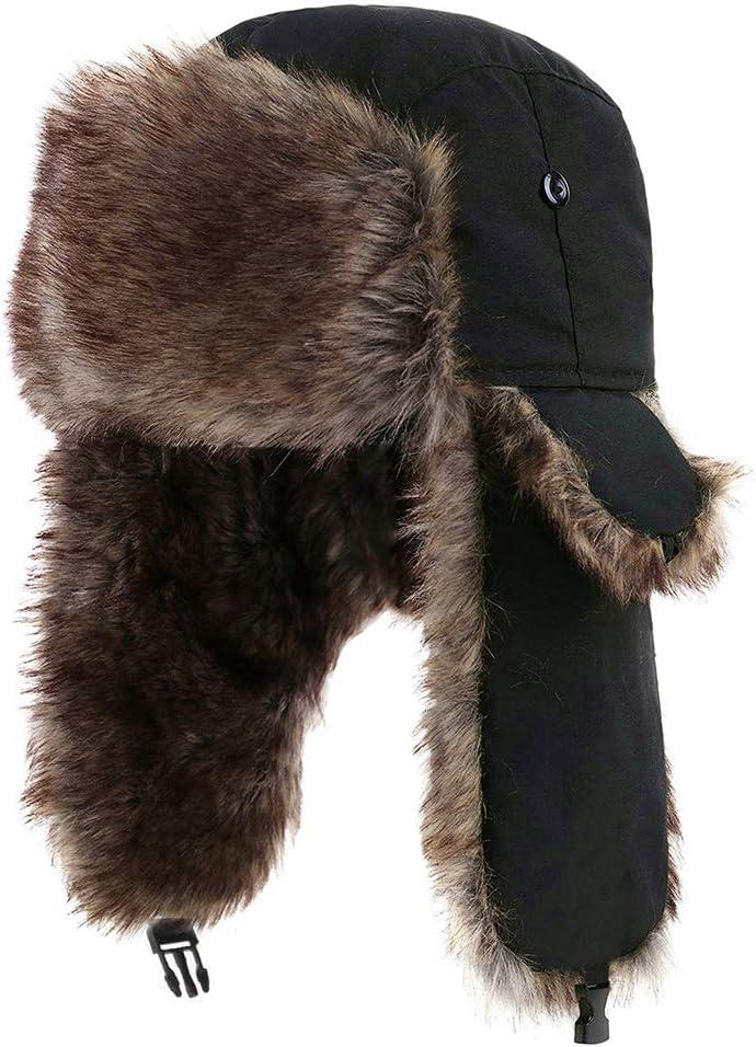 Koowaa Unisex Winter Ear Flap,Windproof Trooper Trapper Ear Flap Hat Winter Warm Hat with Faux Fur Earmuffs for Outdoor Sports Skiing Snowboarding