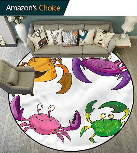 RUGSMAT Crabs Art Deco Pattern Non Slip Washable Round Area Rug Funny Crabs Pattern Non Slip Bathroom Soft Floor Mat Home Decor Diameter 24