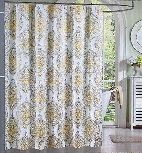 Indigo Loft Duschvorhang aus Stoff, mit klassischem Blumenmuster & Medaillon-Muster, Gelb / Grau