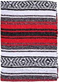 El Paso Designs - Mexican Yoga Blanket - Colorful Falsa Serape - Camping, Picnic, Beach Blanket, Bedding, Car Blanket, Saddle Blanket, Soft Woven Home Decor (Red)