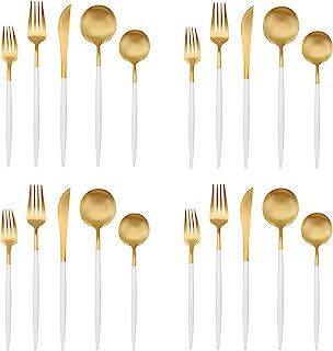 Matte Gold Silverware Set with white handle, Bysta 20-Piece Stainless Steel Flatware Set, Kitchen Utensil Set Service for ...