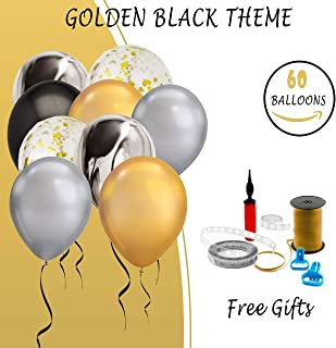 Golden Confetti Balloons | 60Pcs 12Inch Balloon Set With Pump & Ribbons | Balloon Arch & Garland Kit |Dot Glue Tape | Birthday Party Balloon Kit | Graduation Party Balloons | Wedding Balloons By Orkst