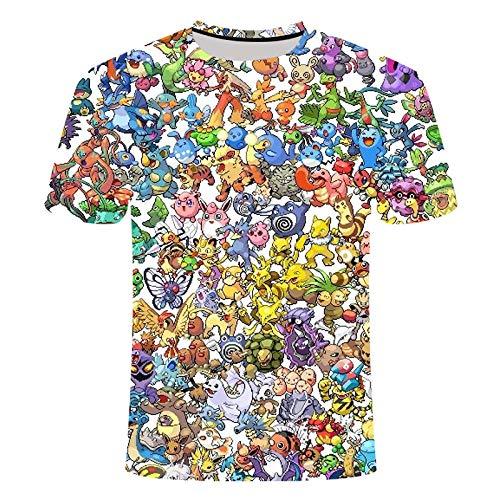 TJJF 3D-Katzendruck Pi Ka Chu T-Shirt Männer Frauen Kinder T-Shirt Sommer Funny Boy T-Shirt Lose Ärmel