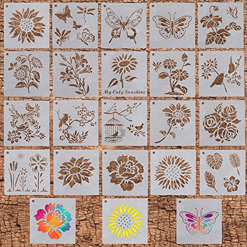 Stencils for Painting, Flower Stencils for Painting on Wood Canvas,20pcs Reusable Plastic Wall Stencil Drawing Templatesfor Kids and Adults, Butterfly Bird Sunflower Stencils Set for Crafting