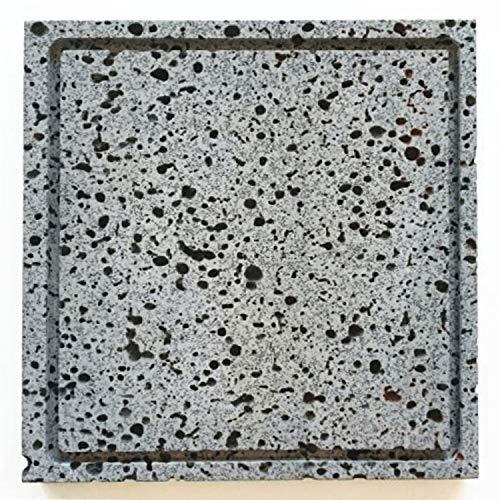 荒くれ男の【溶岩プレート】25×25×2センチ油落しの溝付き。細かいことは気にするな。Bタイプ
