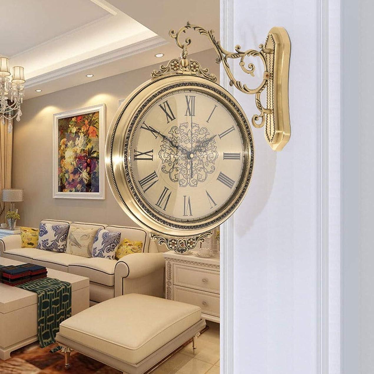 非アクティブ欠陥確立ウォールクロック - ヨーロッパの創造的な両面/ 360度回転ミュートクォーツ時計、ガラス/金属、ホテルのリビングルーム、オフィスの廊下、サイズ14.1x16.5in よくできた