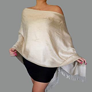 a653cc5f1278b Plus Size Cream Wrap Mother Of The Bride Dress Shawl Ivory Wedding Pashmina  By ZiiCi