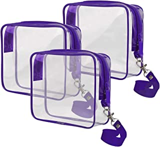 ARIZA Clear Toiletry Bag Set, TSA Approved Travel Business Trip With Handle Strap Cosmetics Pouch 3-1-1 Liquids Luggage Makeup Bags(Purple)
