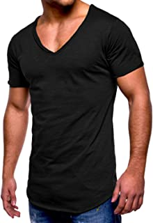 Men's T-Shirt Long Sleeve Basic V Neck Slim Fit Hipster Shirt Sweatshirt Casual Tee Tops