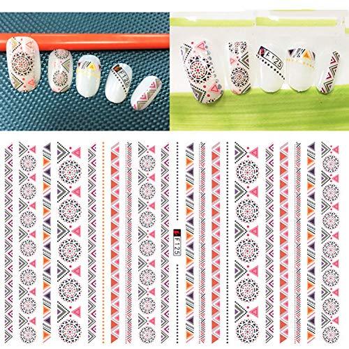 WLJWFF Nail Sticker Stickers 3D Ongles Curseur Art Line Stripe Design Décoration Manucure Adhésif Conseils Wraps Feuille