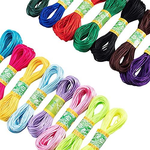 PINGDONGHANG 1 unidad de 15 colores 300 yardas satén Trim Cord 15mm Rattail cordón de seda cuerda para collar pulsera abalorios cordón joyería