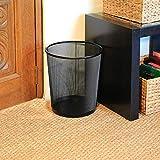 St@llion - Papelera circular de malla de metal negro, para oficina u hogar