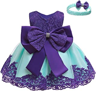 Baby Girls Formal Dress Bowknot Baptism Embroidery Tutu Dress with Headwear