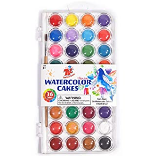 TBC The Best Crafts 36 Colors Watercolor Paint Set, Portable Travel Watercolor Pan Set with Paint Brush, Student Quality Watercolor Cake for Kids