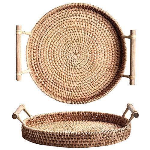 Brotkorb Serviertablett Rattan mit Griffen Korbtablett Korb Tabletts aus Weidengeflech Rund (28cm Durchmesser)
