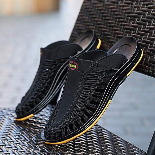 GJLIANGXIE Sandales pour Hommes été épais Caoutchouc Noir Nouveaux Hommes Tissés Sandales Chaussures De Marée Chaussures De Sport pour Hommes