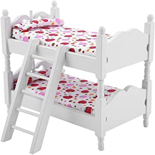 Doll Bunk Bed, 1:12 Doll House Mini Furniture Children Bedroom Model Bunk Bed Toys Home Decoration, Great Gift for Girls(P...