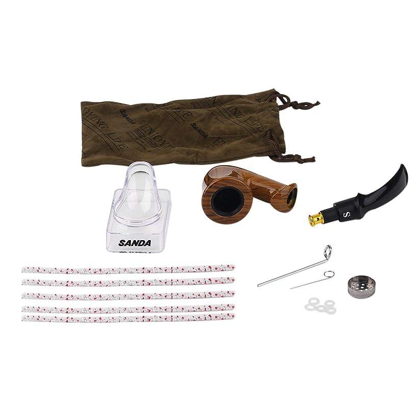 ヘルシー自伝振りかけるSaikogoods 耐久性のある喫煙パイプ木製パイプ煙喫煙木製の喫煙パイプの雑草パイプ男性のための最高の贈り物2色 褐色