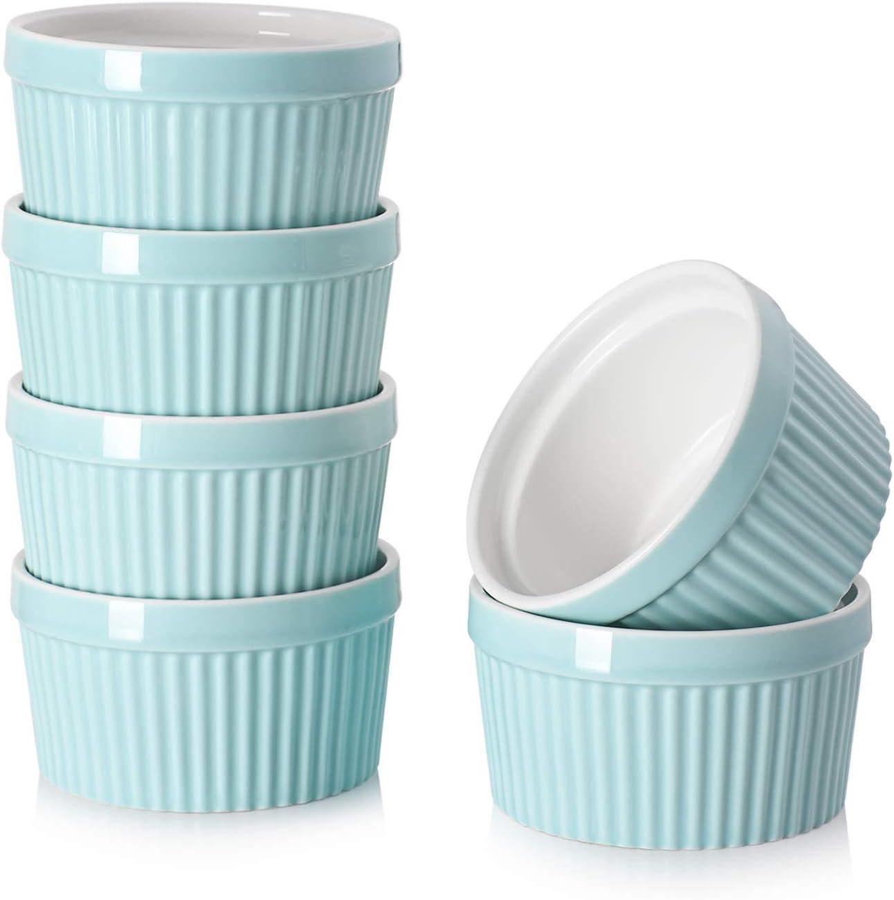 Moldes de porcelana DOWAN de 236 ml - Moldes para platos de soufflé para creme Brulee Pudding Oven Safe, cuencos Ramekins de estilo clásico para hornear, juego de 6, azul