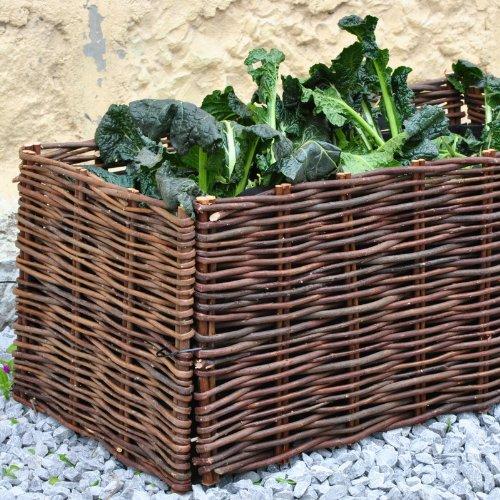 Hochbeet Gartenbeet Pflanzenbeet Beet aus Weide 100x40x40cm inkl. Pflanztasche