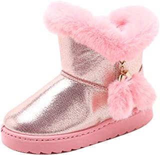 Fulision Girl Winter Snow Boots Leisure Outdoor Ski Snow Boots Solid Color Soft Non-Slip Rubber Bottom Cotton Shoes