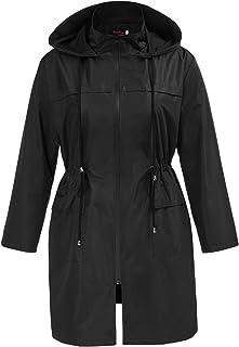 Hanna Nikole Women's Plus Size Long Hooded Rain Jacket Outdoor Raincoat Windbreaker