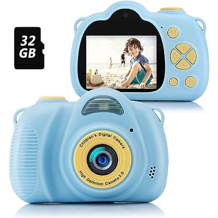 Fede Appareil Photo Enfants, Cadeaux de Jouets Intéressants pour Garçons et Filles de 3-12 Ans, Appareil Photo Numérique pour Enfants avec 1080P HD 12MP Carte SD 32 Go Bleu