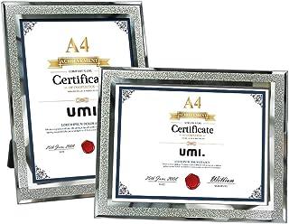 UMI. Essentials - Marcos de Cristal para Fotos, Diplomas o Documentos para Sobremesa, Tamaño A4: 21 x 29,7 cm Juego de 2