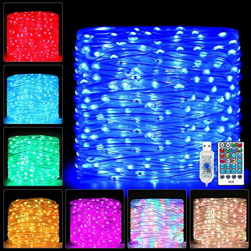 Ollny Rope Lights 66ft 200 LED Colors Changing Outdoor String Fairy Twinkle Strip Tube Lights with Remote for Bedroom Christmas Tree Party Patio Outdoor Indoor Decorations,Waterproof Rope lighting USB