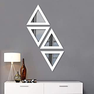 Art Street Decorative Wall Mirror Set of 4 White Triangular Shape for Home Decoration & Wall Decoration- Size-10x10 Inch