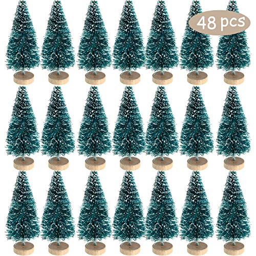 Mini Sisal Snow Frost Trees Winter Mini Pine with Wood Base Bottle Brush Trees Plastic Winter Snow Ornaments Tabletop Trees for Christmas Decoration and Display (48 Pieces, Size 2)