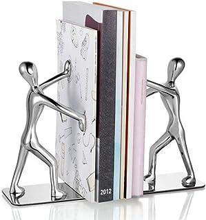 Winterworm Fashion Creative Stainless Steel Decorative Small Humanoid Bookend Pair Kung Fu Kungfu Man Book Organizer Metal...