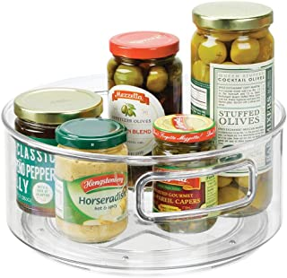 mDesign plateau de rangement lazy susan – plateau tournant pour aliments – rangement cuisine pour épices en plastique – tr...