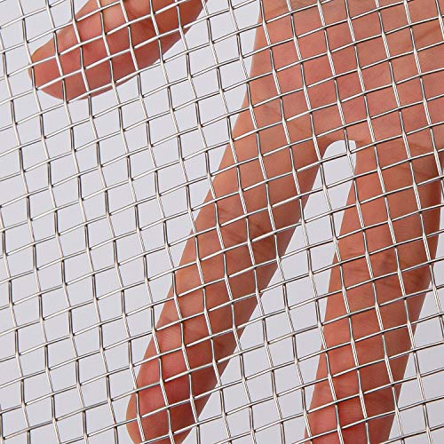 AIEX Alambre Tejido de Malla - Acero Inoxidable 304 5 Malla 74% área Abierta, Rejilla Metálica para Jardín de Seguridad, Red de Apoyo para Barbacoa al Aire Libre - 4.5 mm de malla, 60 x 30 cm