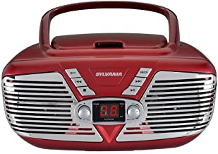 Sylvania SRCD211-RED Portable CD Boombox with AM/FM Radio, Retro Style, (Red)